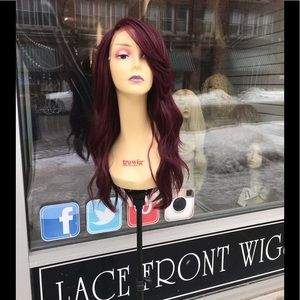 Accessories - Burgundy red wine sidePart Lacefront Wig Wavy 2019